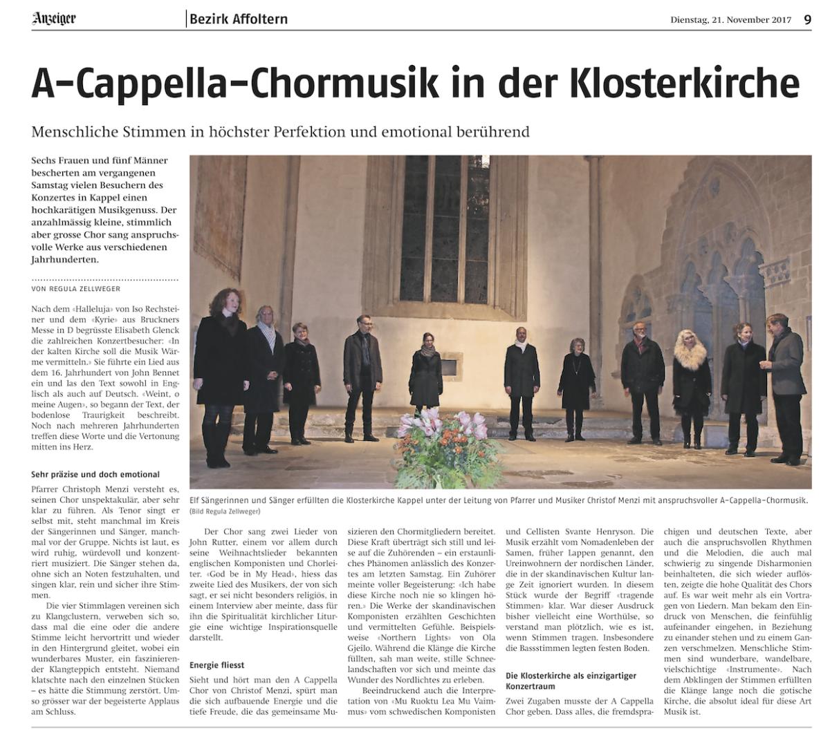 Anzeiger Bezirk Affoltern: A-Cappella-Chormusik in der Klosterkirche